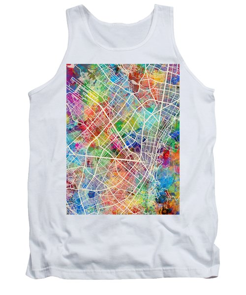 Bogota Colombia City Map Tank Top
