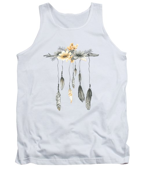 Boho Feathers Floral Branch Tank Top
