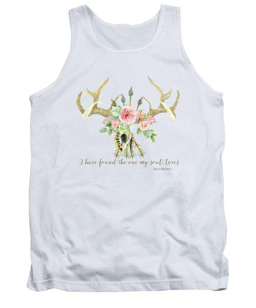Boho Love - Deer Antlers Floral Inspirational Tank Top