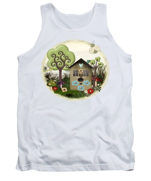 Bonnie Memories Whimsical Mixed Media Tank Top by Sharon and Renee Lozen