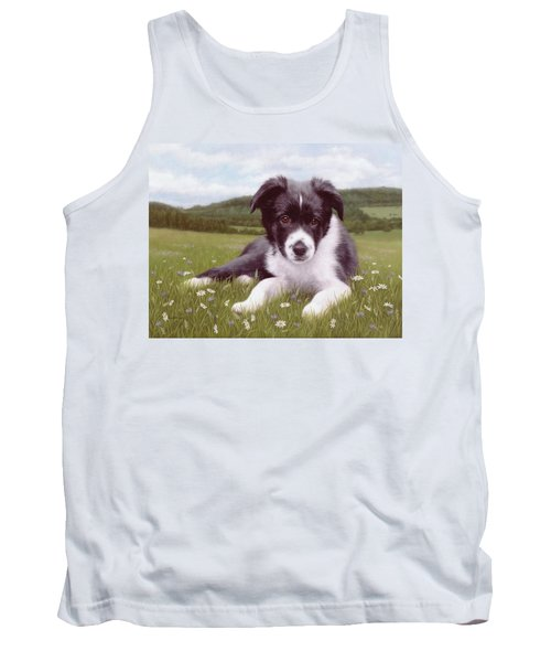Border Collie Puppy Painting Tank Top by Rachel Stribbling