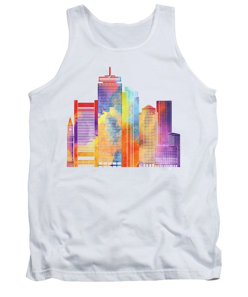 Boston Landmarks Watercolor Poster Tank Top by Pablo Romero