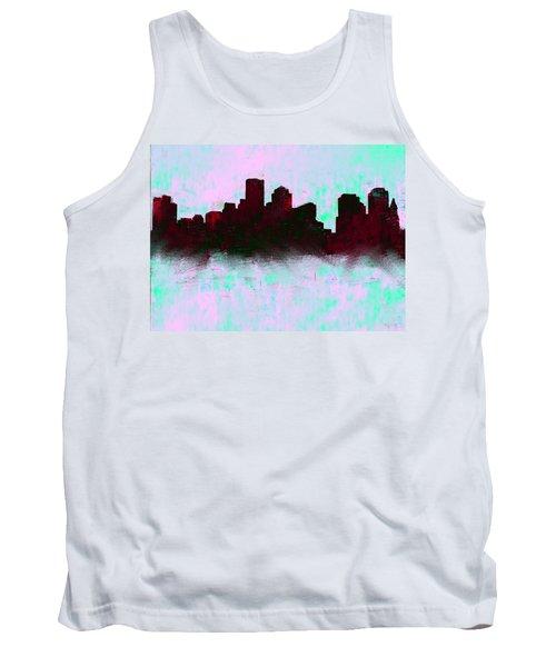 Boston Skyline Sky Blue  Tank Top by Enki Art