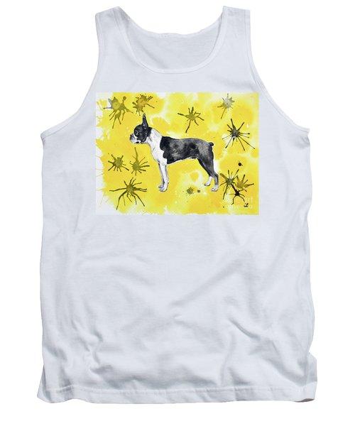 Tank Top featuring the painting Boston Terrier On Yellow by Zaira Dzhaubaeva