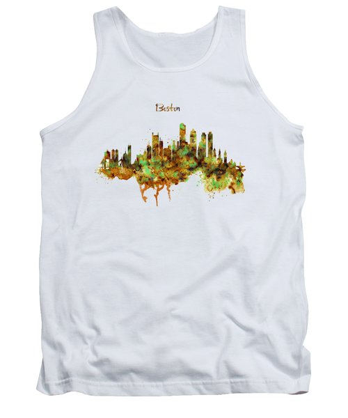 Boston Watercolor Skyline Tank Top by Marian Voicu