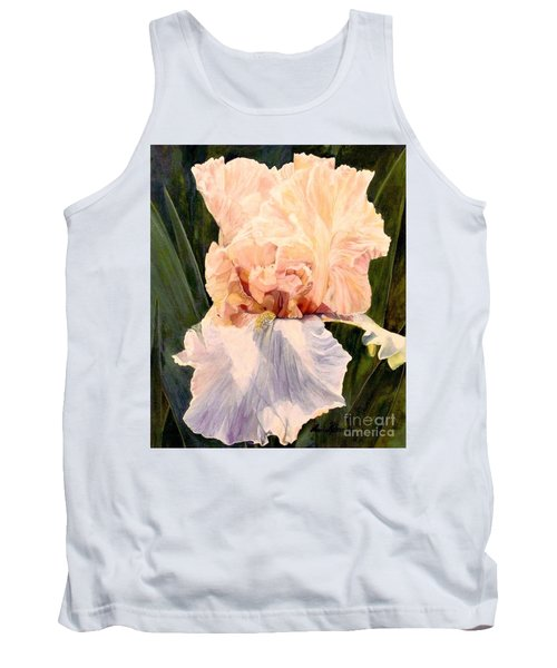 Tank Top featuring the painting  Botanical Peach Iris by Laurie Rohner