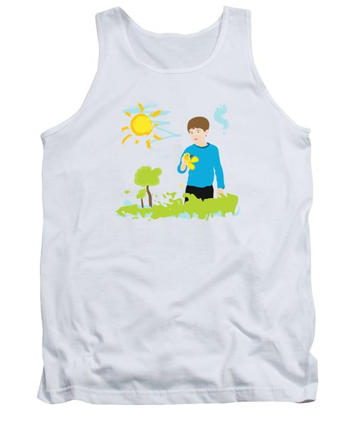 Boy Painting Summer Scene Tank Top by Serena King