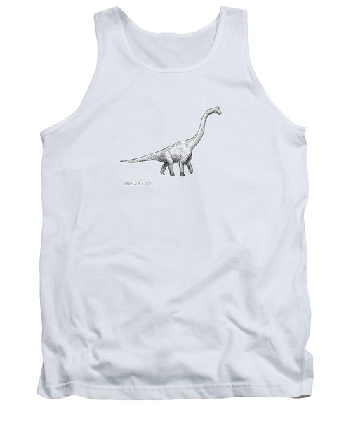 Tank Top featuring the drawing Brachiosaurus Black And White Dinosaur Drawing  by Karen Whitworth