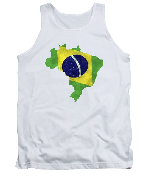Brazil Map Art With Flag Design Tank Top