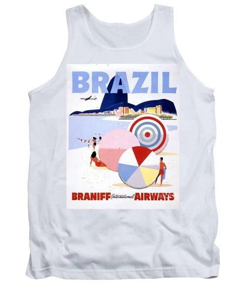 Brazil Vintage Travel Poster Restored Tank Top
