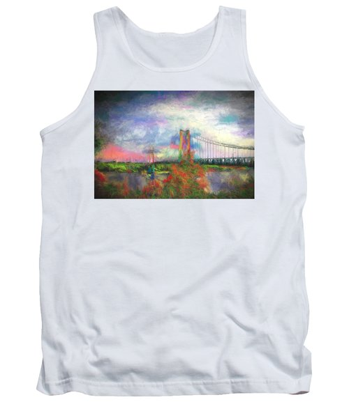 Tank Top featuring the digital art Bridge Blues by Terry Cork
