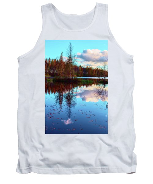 Bright Colors Of Autumn Reflected In The Still Waters Of A Beautiful Forest Lake Tank Top