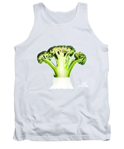 Broccoli Cutaway On White Tank Top