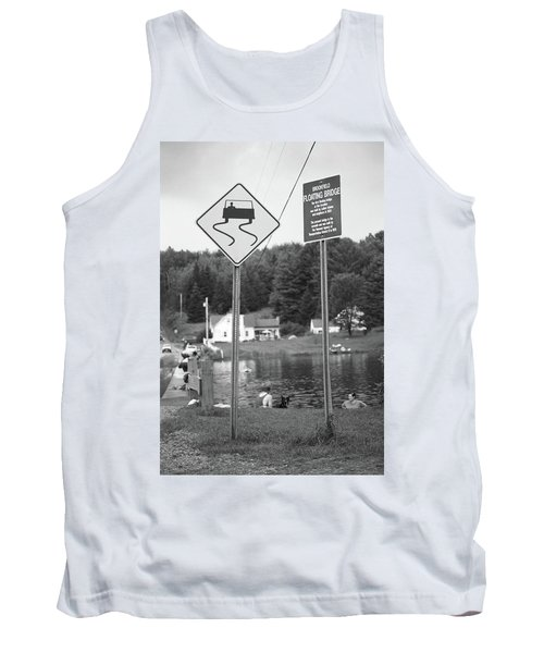 Tank Top featuring the photograph Brookfield, Vt - Floating Bridge 2 Bw by Frank Romeo
