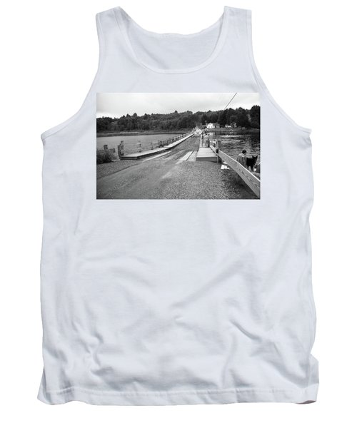 Tank Top featuring the photograph Brookfield, Vt - Floating Bridge 5 Bw by Frank Romeo