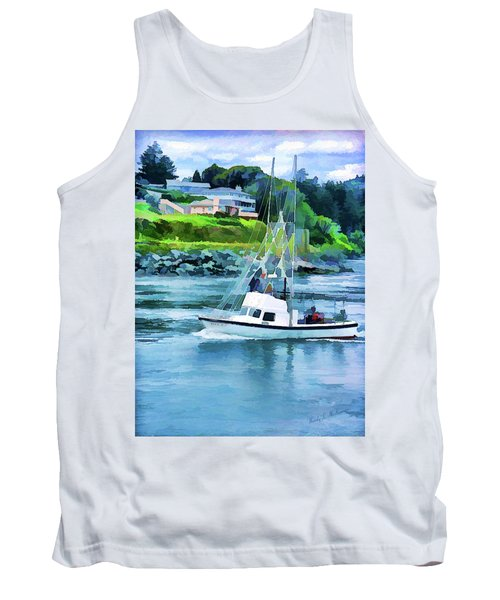 Tank Top featuring the photograph Brookings Boat Oil Painting by Wendy McKennon