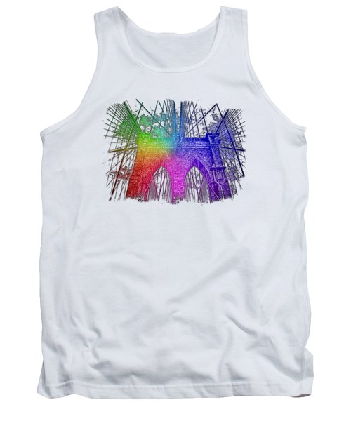 Brooklyn Bridge Cool Rainbow 3 Dimensional Tank Top by Di Designs