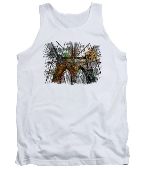Brooklyn Bridge Muted Rainbow 3 Dimensional Tank Top by Di Designs