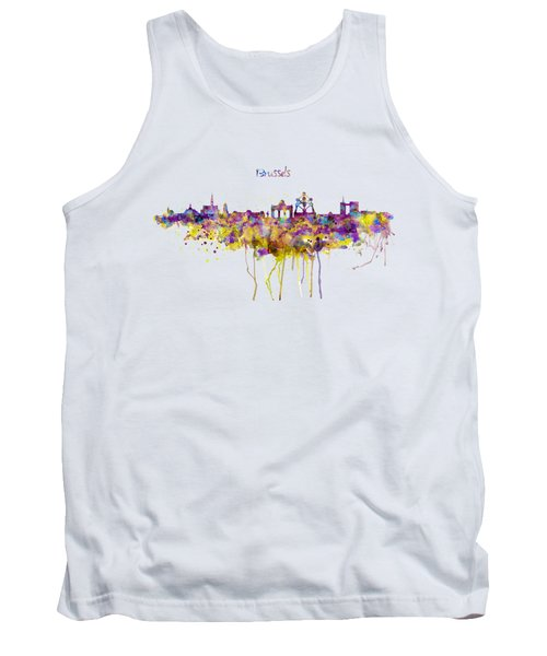 Brussels Skyline Silhouette Tank Top