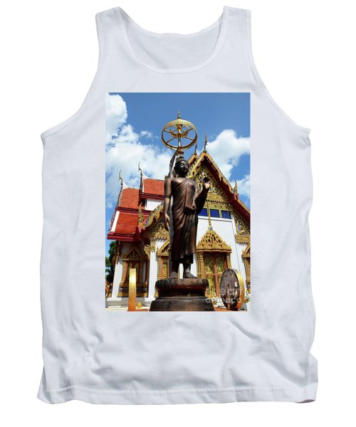 Buddha Statue With Sunshade Outside Temple Hat Yai Thailand Tank Top