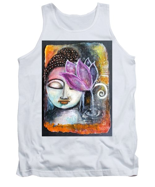 Buddha With Torn Edge Paper Look Tank Top by Prerna Poojara