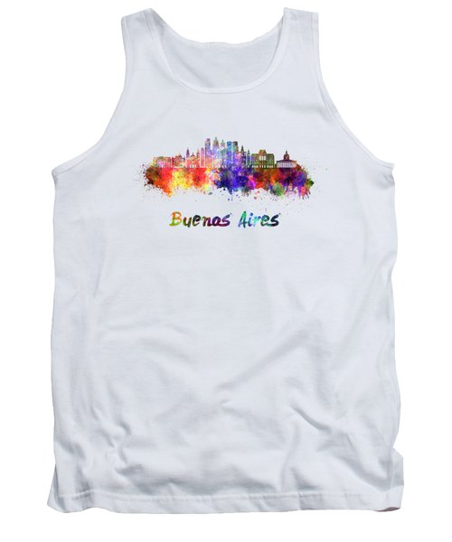 Buenos Aires V2 Skyline In Watercolor Tank Top