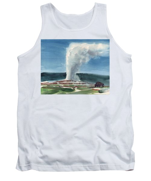 Buffalo And Geyser Tank Top by Donald Maier