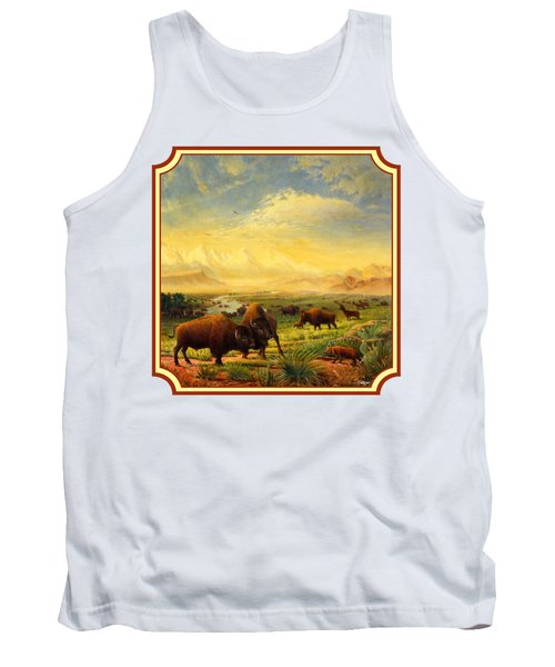 Buffalo Fox Great Plains Western Landscape Oil Painting - Bison - Americana - Square Format Tank Top