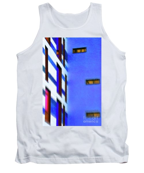 Tank Top featuring the digital art Building Block - Blue by Wendy Wilton