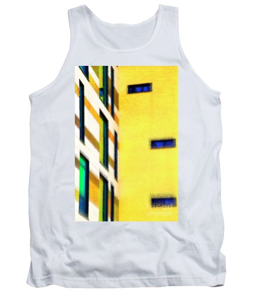 Tank Top featuring the digital art Building Block - Yellow by Wendy Wilton
