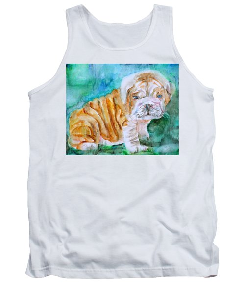 Tank Top featuring the painting Bulldog Cub  - Watercolor Portrait by Fabrizio Cassetta