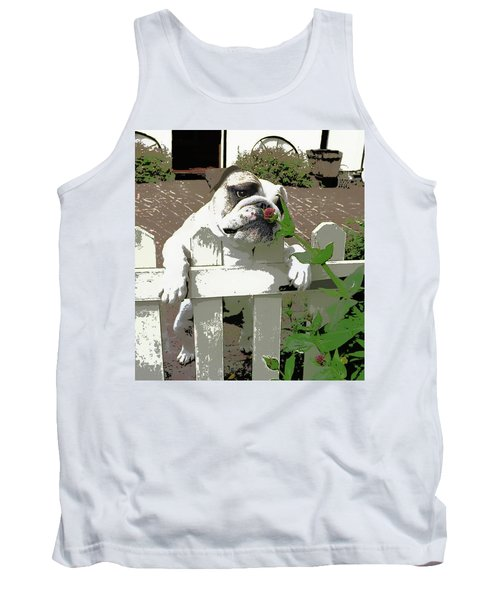 Bulldog Sniffing Flower At Garden Fence Tank Top
