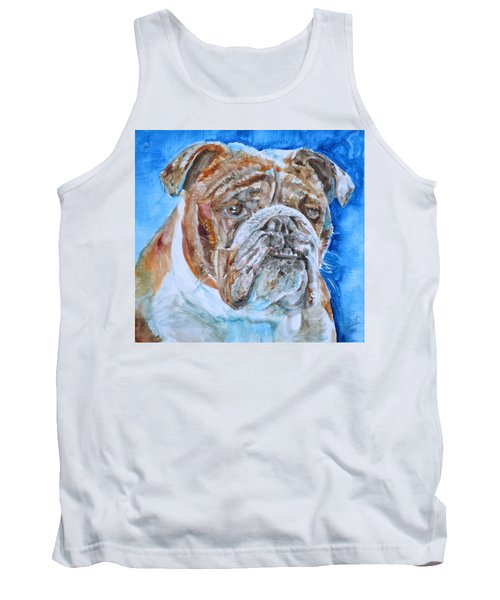 Tank Top featuring the painting Bulldog - Watercolor Portrait.8 by Fabrizio Cassetta