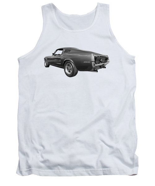 Tank Top featuring the photograph Bullitt Mustang 1968 In Black And White by Gill Billington