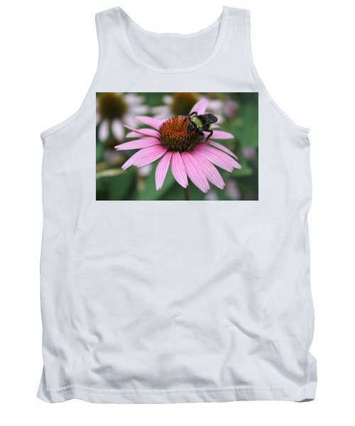 Bumble Bee On Pink Cone Flower Tank Top by Sheila Brown