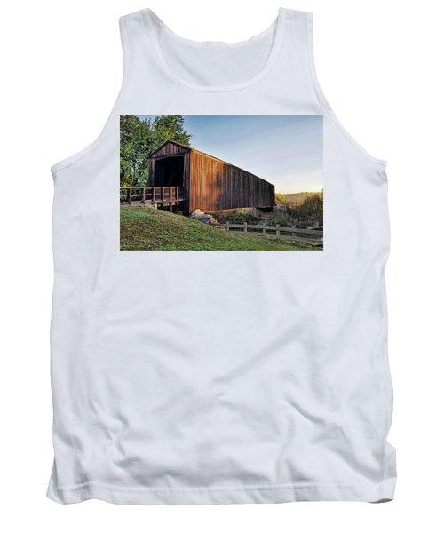Tank Top featuring the photograph Burfordville Covered Bridge by Cricket Hackmann