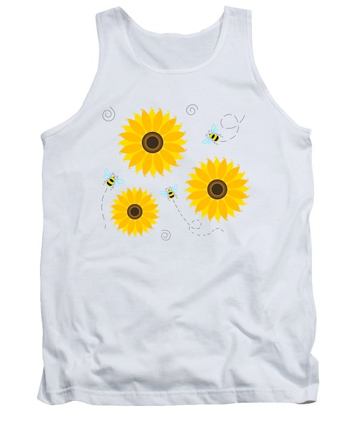 Busy Bees And Sunflowers - Large Tank Top by SharaLee Art