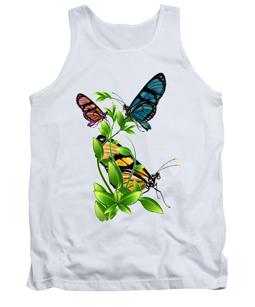 Butterflies On Leaves Tank Top