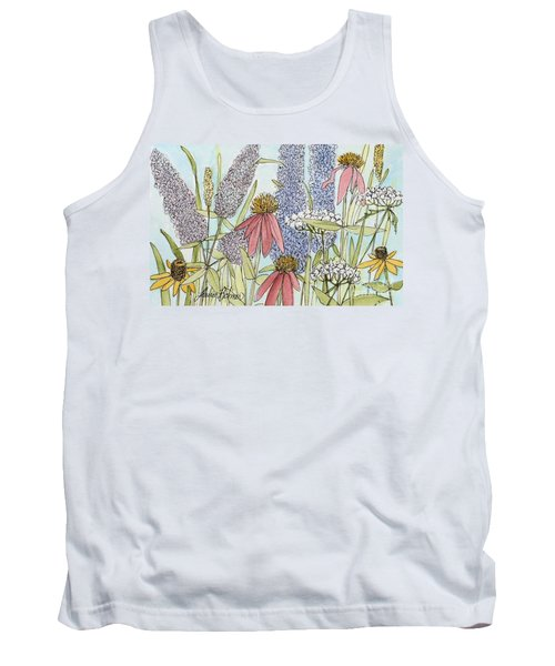Tank Top featuring the painting Butterfly Bush In Garden by Laurie Rohner