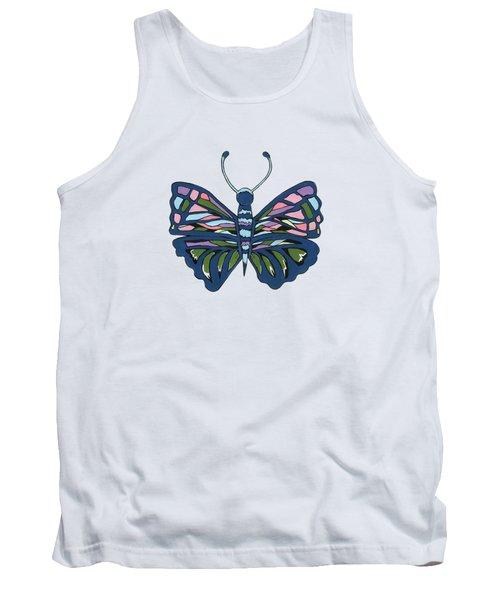 Butterfly In Blue Tank Top by Kathleen Sartoris