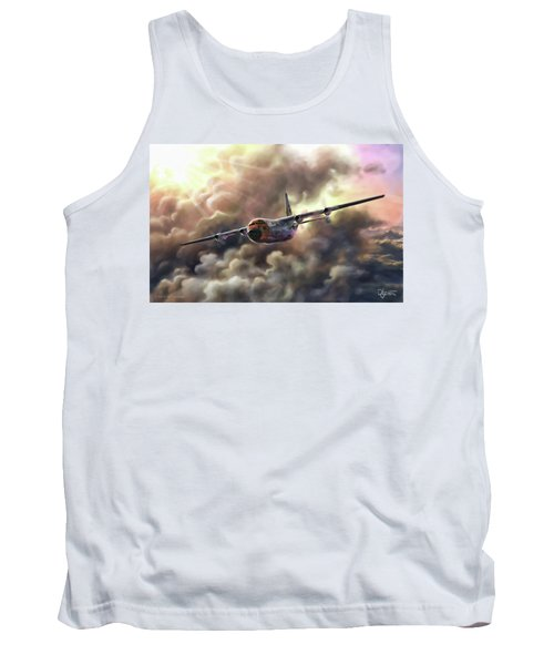 Tank Top featuring the painting C-130 Hercules by Dave Luebbert