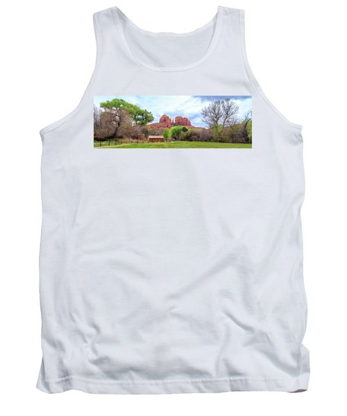 Tank Top featuring the photograph Cabin At Cathedral Rock Panorama by James Eddy