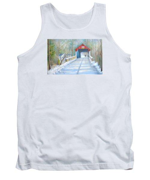 Cabin Run Bridge In Winter Tank Top by Oz Freedgood