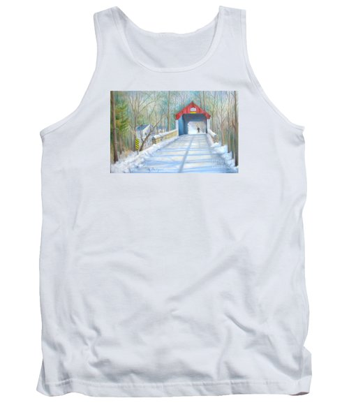 Cabin Run Bridge In Winter Tank Top
