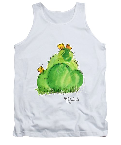 Cactus In The Yellow Flower Watercolor Painting By Kmcelwaine Tank Top by Kathleen McElwaine