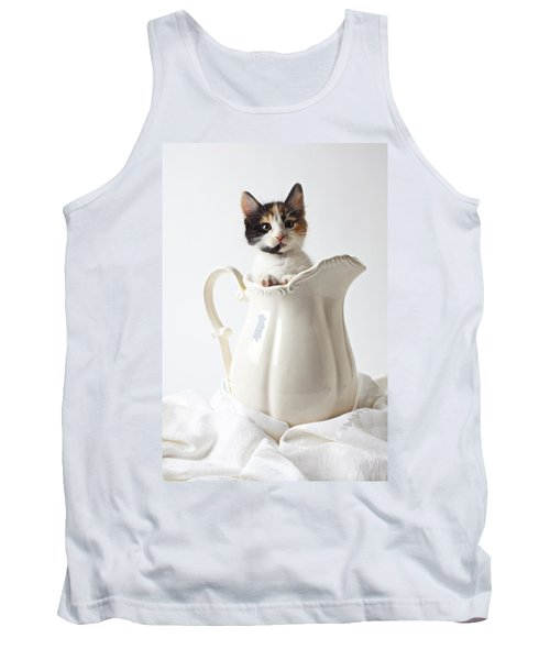 Calico Kitten In White Pitcher Tank Top