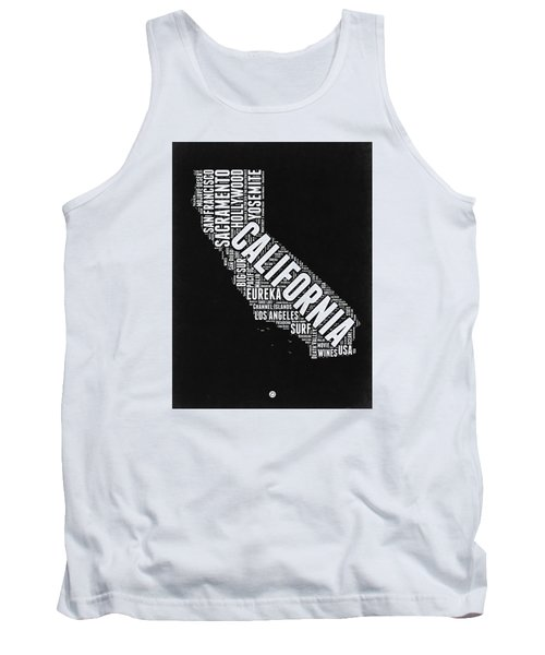 California Black And White Word Cloud Map Tank Top