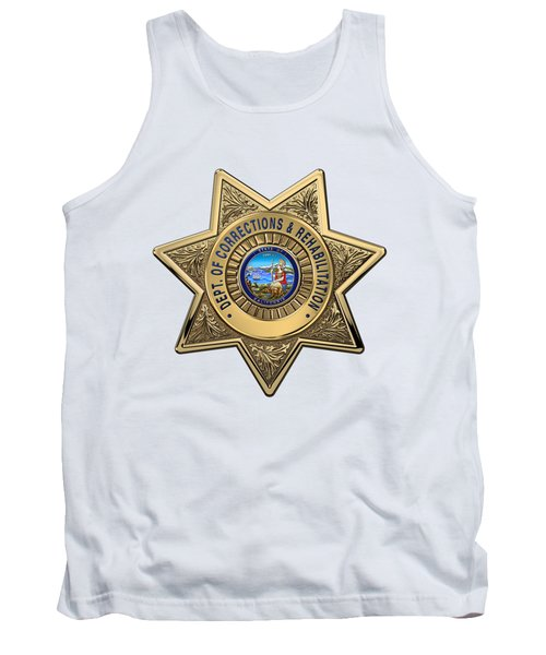 Tank Top featuring the digital art California Department Of Corrections And Rehabilitation - C D C R  Officer Badge Over White Leather by Serge Averbukh