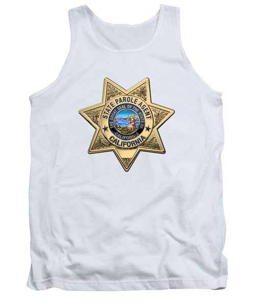 California State Parole Agent Badge Over White Leather Tank Top by Serge Averbukh