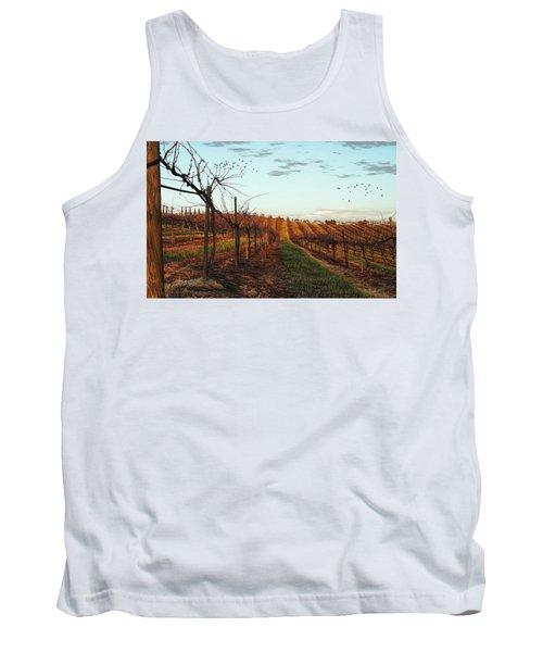California Vineyard In Winter Tank Top